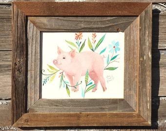 Piglet, Barnwood Framed Original Painting, watercolor, pig, acrylic, farm, flowers