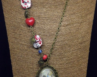 Alice in Wonderland, long chain necklace with red beads and charms, playing card suits, red heart, vintage style, glass cabochon