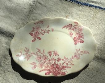 Antique Furnival Pink Ironstone Transferware Dish