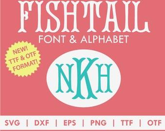 Fishtail Monogram Alphabet Font TTF OTF SVG