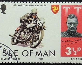 1937 Norton Motorcycles & Motorbikes -Handmade Framed Postage Stamp Art 5095AM