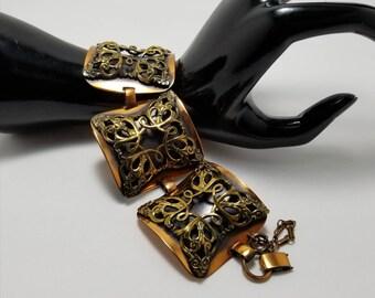Wide Mixed Metals Bracelet