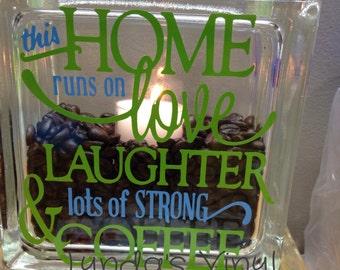 This Home Runs ... Coffee Glass Block