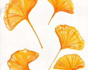 Gingko watercolor painting original Gingko Leaves, 8 x 10 Fall leaves, watercolor art, autumn decor