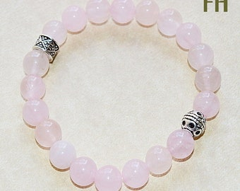 Quartz, Rose Quartz, Rose Quartz Bracelet, Gemstone Bracelet, Women's Bracelet, Rose Quartz Jewelry, For Her, Nature, Yoga, Healing, Boho