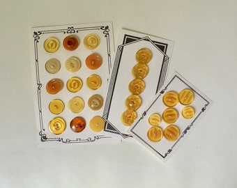 Vintage Amber Bakelite Celluloid and Early Plastic Buttons for Sewing and Crafts