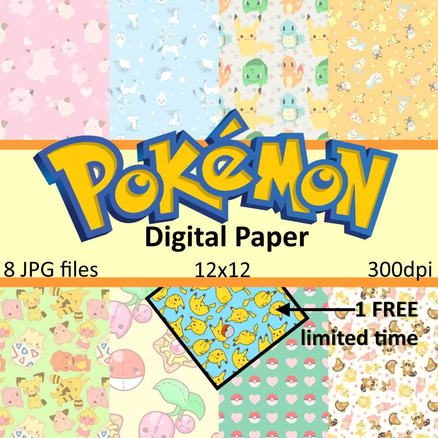 Pokemon Go Paper Pack 12x12 Instant Download Scrapbook Paper