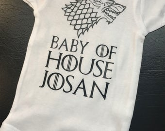 TV show inspired personalized bodysuit, Baby of House bodysuit, Personalized Baby Onesie