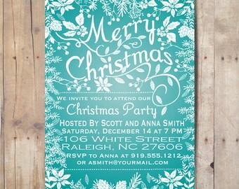 Digital Christmas Invitation, Holiday Party Invitation