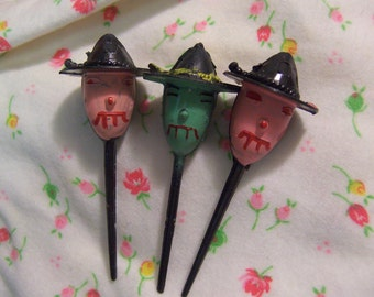 halloween witch head cake toppers