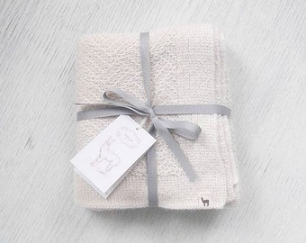 Newborn blanket cream blanket wool blanket baby alpaca blanket baby shower gift knit baby blanket knitted stroller blanket receiving blanket