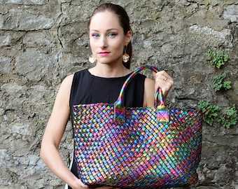 Hand woven metallic bag/handbag/Shopper