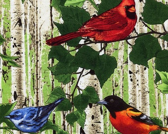 Birds In The Birch Forest  - Timeless Treasures - 1 yard - More Available - BTY