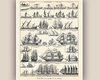 Nautical Print, Vintage sail and row boat images, Seaside Prints, Marine Wall Decor,  Nautical art, 8x10 Print