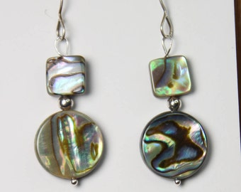 Abalone Shell Earrings Paua Shell Earrings 925 Sterling Silver Hooks, beach jewelry, gifts for her E2306