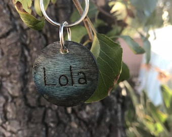 Black & Blue Wooden Pet I.D Tag