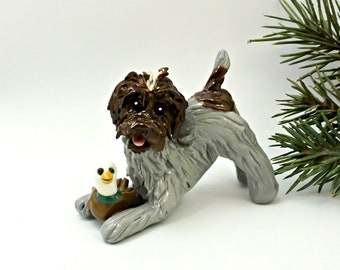 Wirehaired Pointing Griffon Porcelain Christmas Ornament Figurine Duck