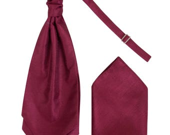 Mens Maroon Luxury Dupion Scrunchie Cravat with matching Pocket Square Pre-Tied