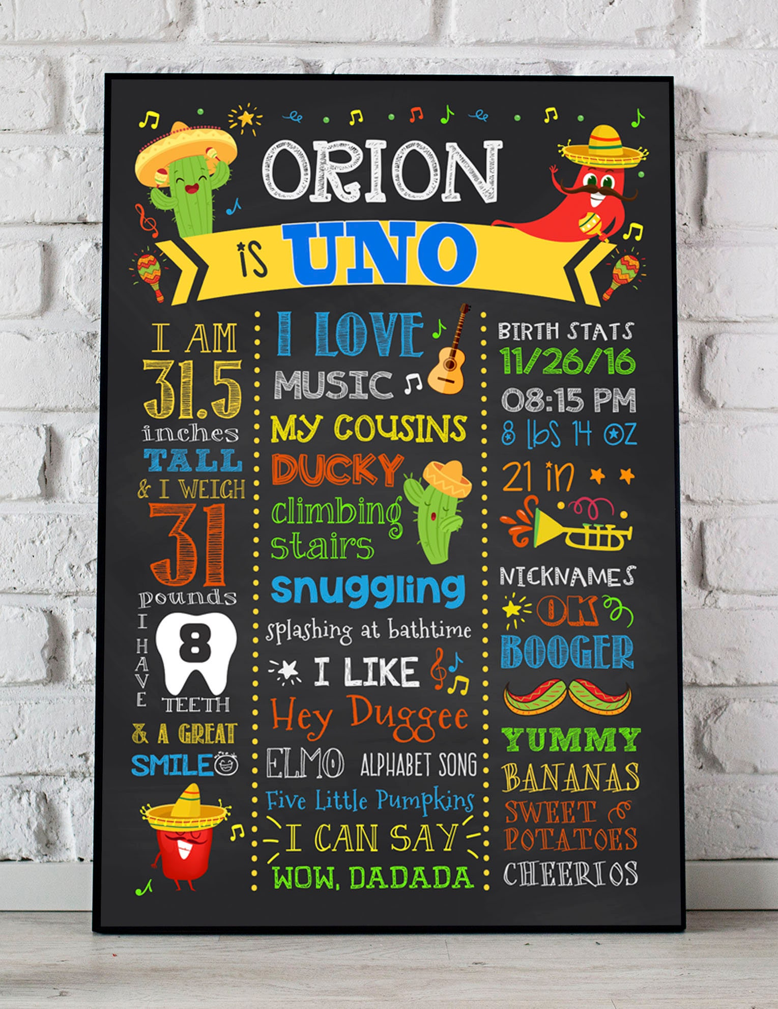 Fiesta First Birthday Chalkboard Poster Mexican Birthday Printable