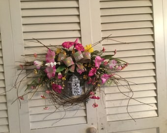 Pink and yell lantern wreath