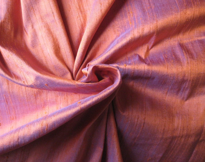 "Orange Violet Purple iridescent 100% dupioni silk fabric yardage By the Yard 45"" wide"