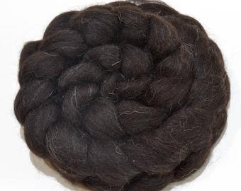 Shetland Wool Combed Top - Black - Heritage Breed - 100 grams