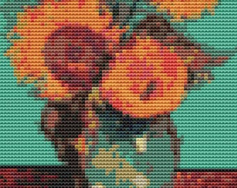 Sunflowers Cross Stitch Chart, Vase with Three Sunflowers MINI Cross Stitch Pattern PDF, Vincent Van Gogh, Embroidery Chart