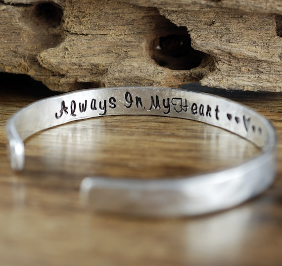 Secret Message Bracelet, Personalized Cuff Bracelets, Always in my Heart, , Loss of Loved One, Remembrance Jewelry, Memorial Bracelet