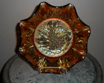 Antique Carnival Glass - Imperial Amber ''HEAVY GRAPE'' 10 Inch Large Ruffled Bowl - Collectible carnival  Glass - Vintage Art Glass (569)