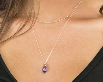 Raw Amethyst Crystal Necklace / 14k Gold fill Chain with Rough Cut Gemstone, Necklace by Layered and Long, LN719