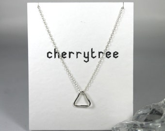 Tiny Triangle Necklace, Sterling Silver Necklace, Dainty Triangle Necklace, Geometric Jewellery, Simple, Modern, Minimal, Gift
