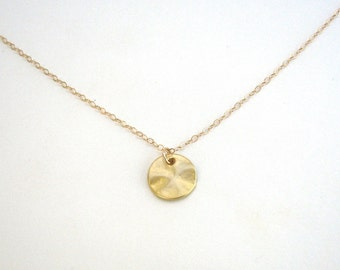 Simple gold necklace etsy small disc necklace disc pendant gold circle necklace circle pendant simple everyday disc necklace simple gold necklace gold or silver aloadofball Gallery