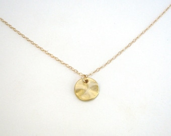 Simple gold necklace etsy small disc necklace disc pendant gold circle necklace circle pendant simple everyday disc necklace simple gold necklace gold or silver aloadofball Choice Image