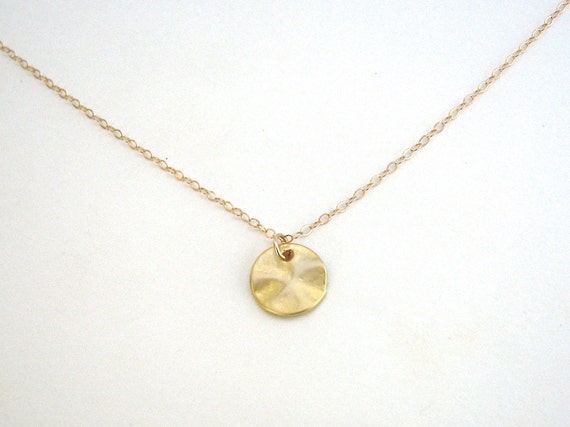 Small disc necklace disc pendant gold circle necklace aloadofball Choice Image