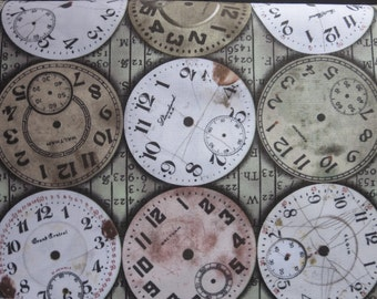 Tim Holtz New Fabric - Eclectic Elements Bridge Designs - Timepieces-Multi