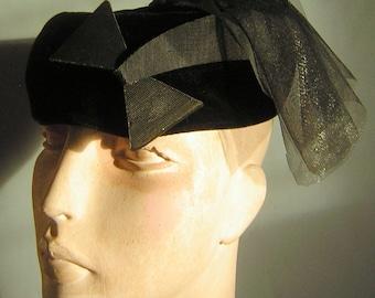 Vintage Black Hat Velvet Pillbox Scottish Dragoon Flounce with Starbust Comet Accent - Saucy & Smart