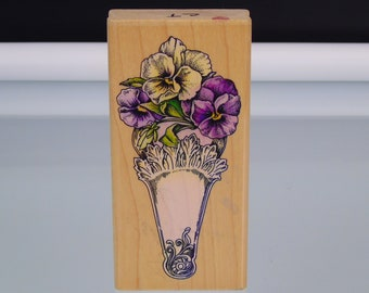 Pansy Fan Stamp Cynthia Hart Design Rubber Stampede 2885F Stamp Wood Mounted Stamps Illustrations Postcards Crafters Scrapbooking