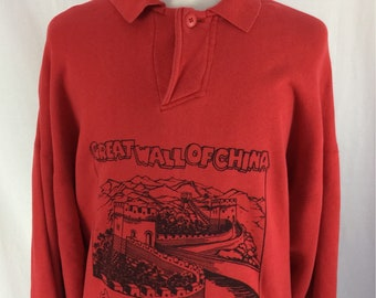 Vintage 90s Great Wall Of China Red One Button Collared Pull Over Newport Blue