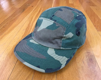 Vintage Camo 5 panel camp hat leather strap back camouflage blank plain minimal soldier army hunt camp outdoors
