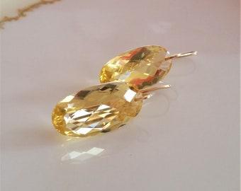 Citrine Earrings. Yellow Citrine Earrings. Citrine jewelry. Citrine dangles. November birthday. Large Citrine Earrings,Wedding,Bridal