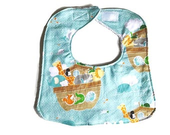 Baby Boy Bib, Noahs Ark Bib, Animal Bib, Drool Bib, Infant Baby Bib, Cotton Bib