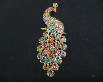 Vintage Peacock Brooch - Multi Colored Stone Peacock