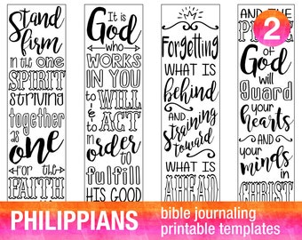 4 Bible Journaling Digital Download Printable Template Bible Verse Coloring Set PHILIPPIANS