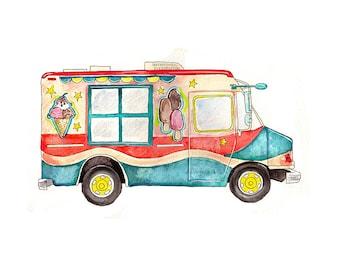 "Ice Cream Truck watercolor print, 8x10"""