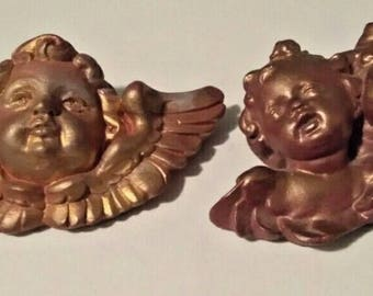 2 Vintage Cherub Angels Wall Hanging Figures Figurine Gold/Copper