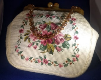 MAUD HUNDLEY NEEDLEPOINT Purse-Lucite Frame & Handle-Roses on Both Sides-Pink Inside-Clean!