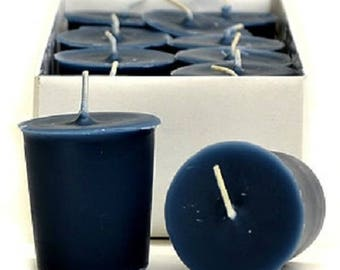 15 Hour Navy Blue Unscented Soy Votive Candles Pick A Pack