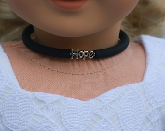 Doll Accessories | HOPE Charm CHOKER NECKLACE in Black or Frosted White for dolls