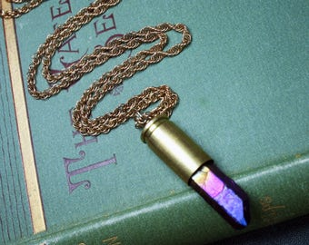 Blue/Purple Titanium Quartz Crystal in Bullet Shell Necklace on Vintage Gold Plated Chain Steampunk Upcycled Jewelry