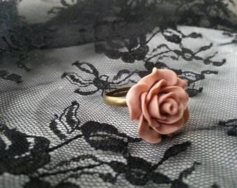 Matte Pink Rose Cabachon Adjustable Ring